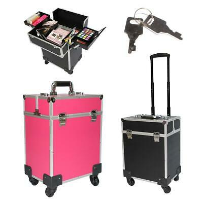 $58.99 • Buy Professional PVC Black Makeup Rolling Train Case Lockable Cosmetic Wheeled Box