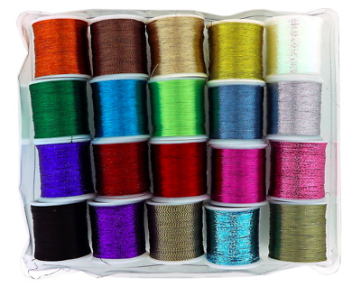 Metallic Glitter Thread 20 Pack 1mm Shiny Decorative Embroidery Sewing Craft  • 6.99£