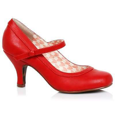 AU115 • Buy Bettie Page Bettie Mary Jane Shoes - Red - Vintage Retro Rockabilly 50s 5-11