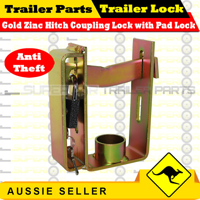 AU19.99 • Buy Superior Gold Zinc Hitch Coupling Lock With Padlock - Boat Box Jetski Trailer