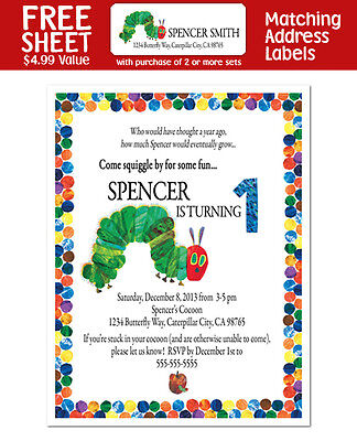 8 The Very Hungry Caterpillar Birthday Party Personalized Invitations • 5.92£