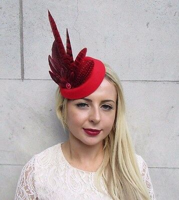 Red Pheasant Feather Pillbox Hat Hair Fascinator Races Wedding Vintage Clip 3765 • 17.95£