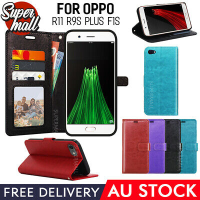 AU10.93 • Buy Oppo R11 R9s Plus F1s Case, Slim Wallet Flip Leather Pocket Cover AU