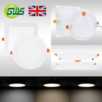 £11.50 • Buy LED Recessed Flush Mounted Ceiling Slim Panel DownLight Round Square Top Quality