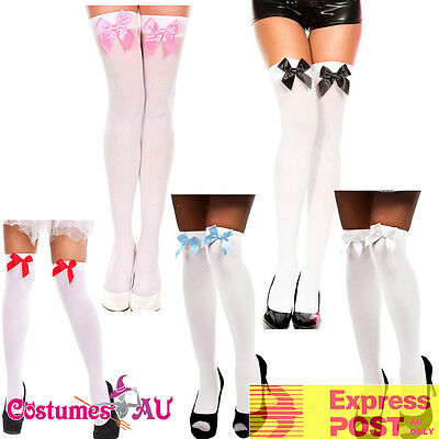 $8.40 • Buy Ladies White Thigh High Stockings With Bow Tights Oktoberfest Beer Maid Wench