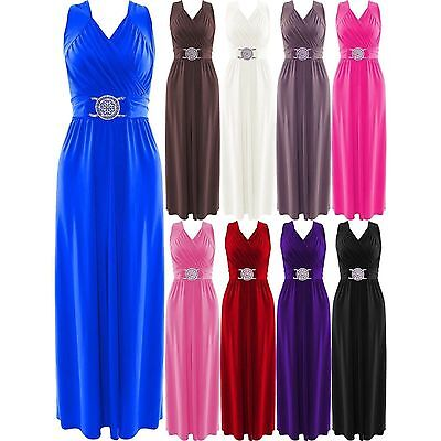 Womens Buckle Maxi Long Dress Ladies Evening Prom Cocktail Party Dresses • 18.99£