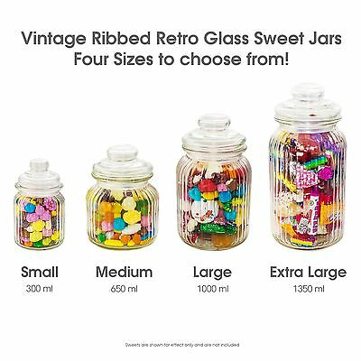 Unowall Vintage Ribbed Glass Sweet Jars & Lids Candy Food Storage Wedding Favour • 11.95£
