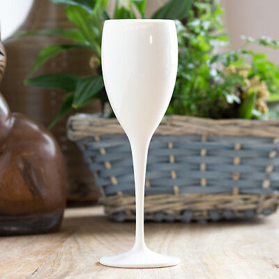 $24.13 • Buy Set Of 4 White Polycarbonate 17cl Champagne Flutes Wine Prosecco Wedding Glasses
