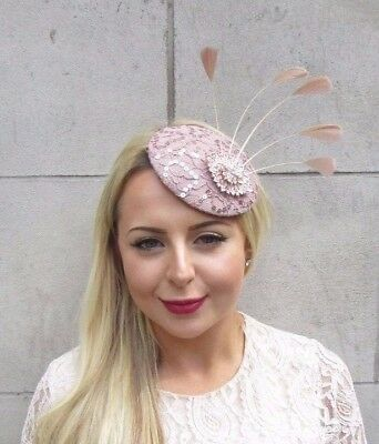 Nude Pink Rose Gold Feather Pillbox Hat Fascinator Hair Clip Races Wedding 3810 • 24.95£