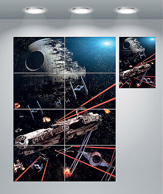 Star Wars Millennium Falcon Death Star Space Giant Wall Art Poster Print • 14.50£