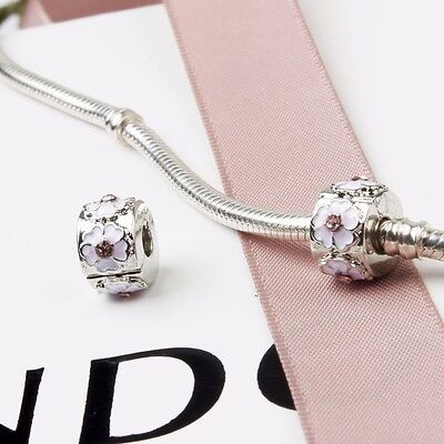 New Silver Plated Pink Cherry Blossom Clip Stopper Charm Fits European Bracelet • 4.65£