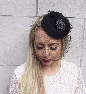 Black Birdcage Veil Feather Pillbox Hat Hair Fascinator Races Funeral Clip 3916 • 17.95£