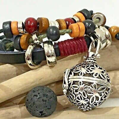 AU15.95 • Buy Aromatherapy Diffuser Butterfly Charm Bracelet Leather Essential Oil Lava Stone