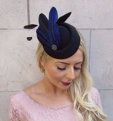 Black Royal Blue Feather Pillbox Hat Hair Fascinator Races Clip Wedding Vtg 4014 • 16.95£