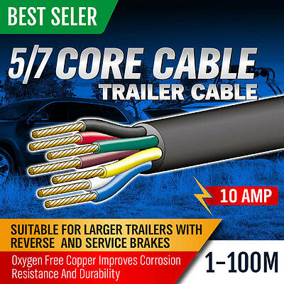 AU19.94 • Buy 5 / 7 Core Wire Cable Trailer Cord Boat Caravan Electric 6 10 20 30 40 50 100m