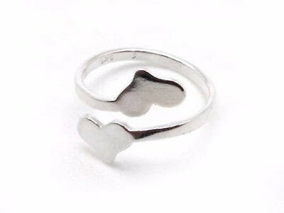 £7.57 • Buy 1pc Sterling Silver 925 Adjustable Double Heart Ring, Two Heart Blanks Ring JBB