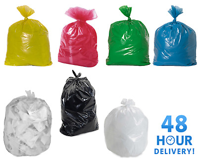 £7.49 • Buy Coloured Black Clear Strong Refuse Sacks Bags Bin Liners Rubbish Bags Uk Made
