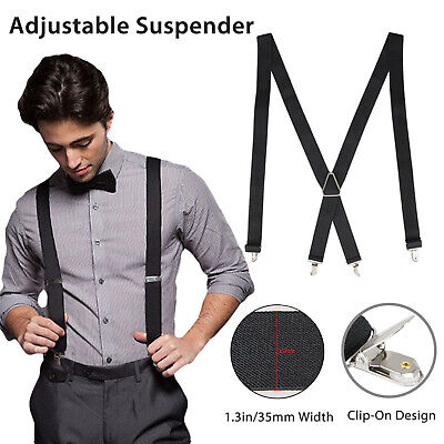 $7.77 • Buy Mens Black X-Back Clip-on Suspenders Adjustable Elastic Retro Formal Braces Tux