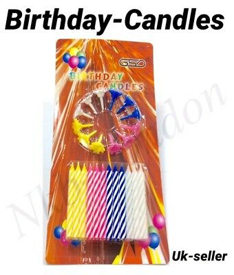 £2.99 • Buy Birthday Candle Set Cake Party Pack Of 24 Piece -24 Candles+12 Holders UK SELLER