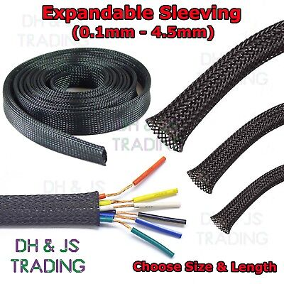 Expandable Sleeving Black Braided Sleeving Cable Tidy Wire Flexible Polyester  • 1.95£