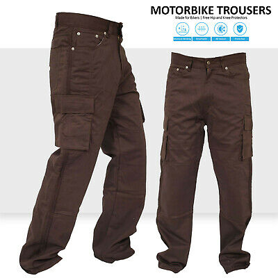 Motorbike Motorcycle Brown Cargo Trousers Jeans Reinforced With Aramid Fibers • 35.99£