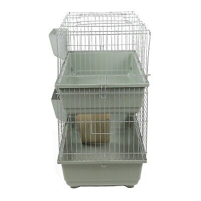 LARGE INDOOR DOUBLE DECKER RABBIT GUINEA PIG 100 CAGE HUTCH RUN 100cm BEIGE • 65.18£