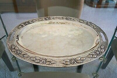 $4775 • Buy Beautiful Sterling Silver Maciel Mexican Serving Tray HUGE 3.5 Pounds Aztec Rose