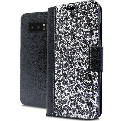 $ CDN10.60 • Buy For Samsung Galaxy Note 8 - Black Silver Rhinestone Wallet Card Slots Case Cover