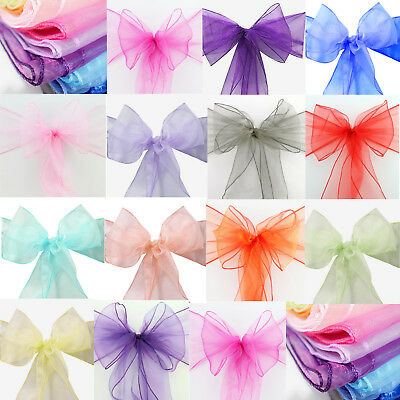 £1.99 • Buy 1 10 50 100 Organza Sashes Chair Cover Sash Large Wider Fuller Bow Wedding Party