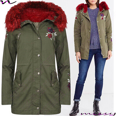 NEW Womens LADIES PARKA JACKET LONG Sleeves WINTER COAT EMBROIDERED Size 8-14 • 19.99£