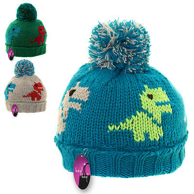 Kids Winter Hat Thick Knitted Warm Wooly Bobble Boys Toddler Child Fleece Lined • 5.99£