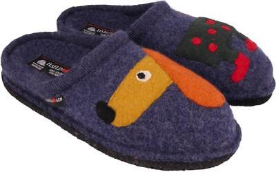 Haflinger Theo Jeans Blue Slippers Wool Felt Men's Women's With Dog Unisex • 52.50£