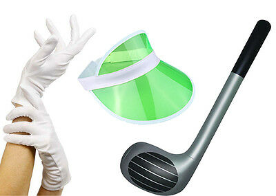 GREEN Pub Golf Set Sun Visor, Gloves & Inflatable Golf Club Fancy Dress Unisex • 5.50£