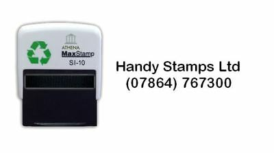 Name And Phone Number - Personalised Self Inking Stamp - Black Ink 36 X 13mm • 10.99£