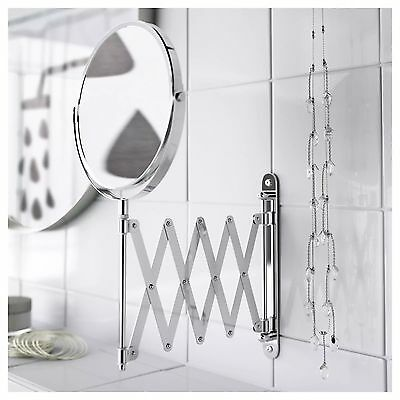 £6.79 • Buy Extendable SHAVING MIRROR NEW IKEA FRACK Stainless Steel Round Magnifying Wall