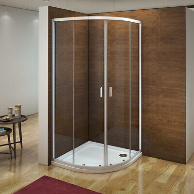 900x900mm Quadrant Shower Enclosure Walk In Corner Cubical Glass Door Stone Tray • 172.99£