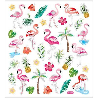 Self Adhesive Flamingo Stickers Plastic Sheet For Card Christmas Decorations • 1£