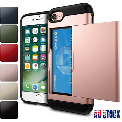 AU9.99 • Buy For IPhone XS XR 8 7 6S Hard Hybrid Armor Case Cover With Slide Card Slot Holder