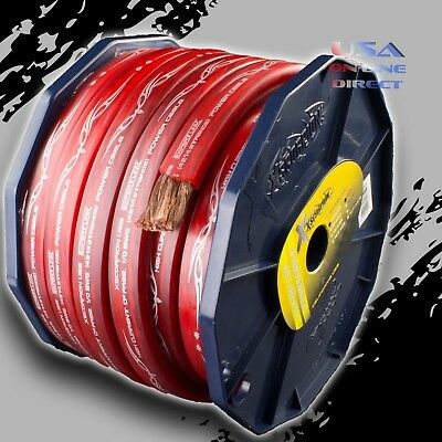 AU103.55 • Buy 0 Gauge 20ft RED Flat Power 100% OFC Wire Strands Copper Marine Cable 1/0 AWG