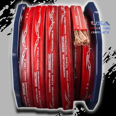 $94.99 • Buy 0 Gauge 25ft RED Power OFC Wire Strands Copper FLAT Marine Cable 1/0 AWG