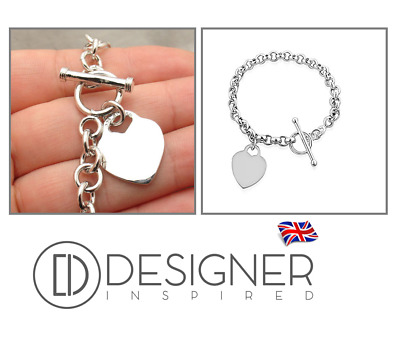 £19.95 • Buy Silver Heart Tag Rolo Bracelet Sterling 925 T Bar Toggle Charm Womens Girls Gift