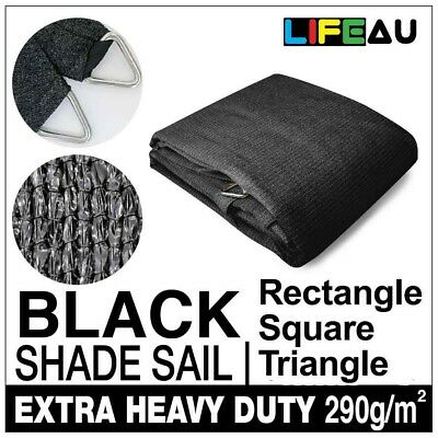 AU179.90 • Buy Extra Heavy Duty BLACK Shade Sail 290gsm Rectangle Square Triangle