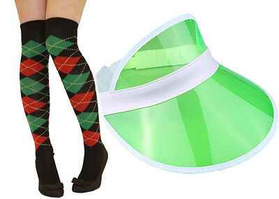 Pub Golf Set Green Sun Visor & Green/Red Diamond Argyle Socks Fancy Dress Unisex • 5.25£