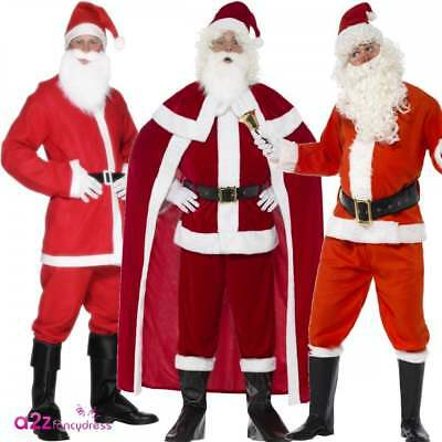 Mens Santa Claus Costume Adult Father Christmas Xmas Outfit Deluxe Fancy Dress • 27.95£