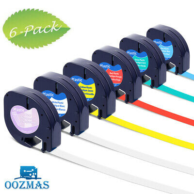 AU25.15 • Buy 6PK 16952 91331 91332 Plastic Tape Compatible DYMO Letratag Label Maker 12mm X4m