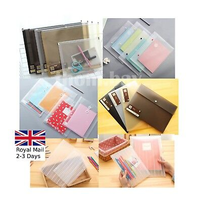 £2.19 • Buy 2 X A4/a5 Quality Plastic Translucent Wallet Popper Zip & Seal File Folder Bags