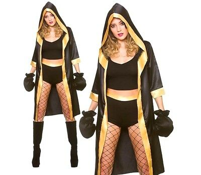 £18.90 • Buy Ladies KNOCKOUT BOXER + Gloves Boxing Sexy Fancy Dress Costume Champion Robe