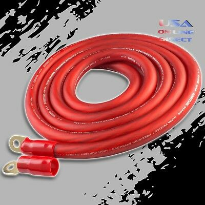 AU51.90 • Buy 0 Gauge 10ft RED Power OFC Wire Strands Copper Hi-Voltage Marine Cable 1/0 AWG