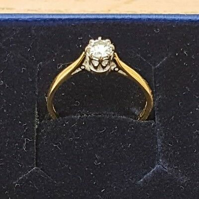 Designer 18ct Yellow Gold Quarter Carat Diamond Solitaire Ring | Size Small / K • 145£