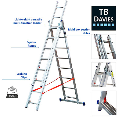 £182.24 • Buy TB Davies DIY 4Way Extending Combination Ladder, Works On Staircases, EN131